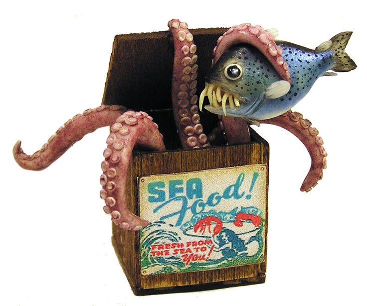 Dollhouse Miniature Strange Seafood Delivery - Handmade 1:12 scale