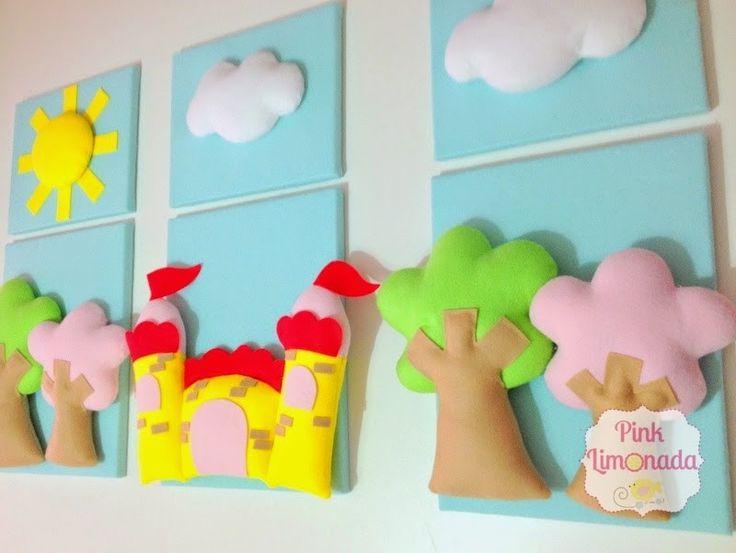 Quadrinhos em feltro para decoração de festa! Pode ser produzido com outros temas, cores e tamanhos. <br>O valor se refere ao quadrinho 30x25 cm (com sol e nuvens). <br>Quadrinho 40x50 cm com árvore ou castelinho - R$60,00 cada.