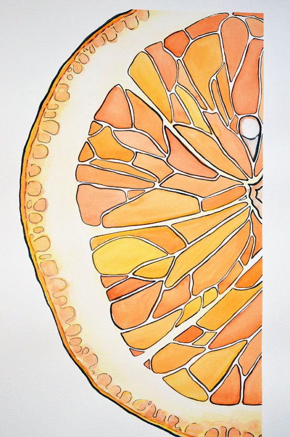 Orange Slice Watercolor Painting by courtneykhail on Etsy