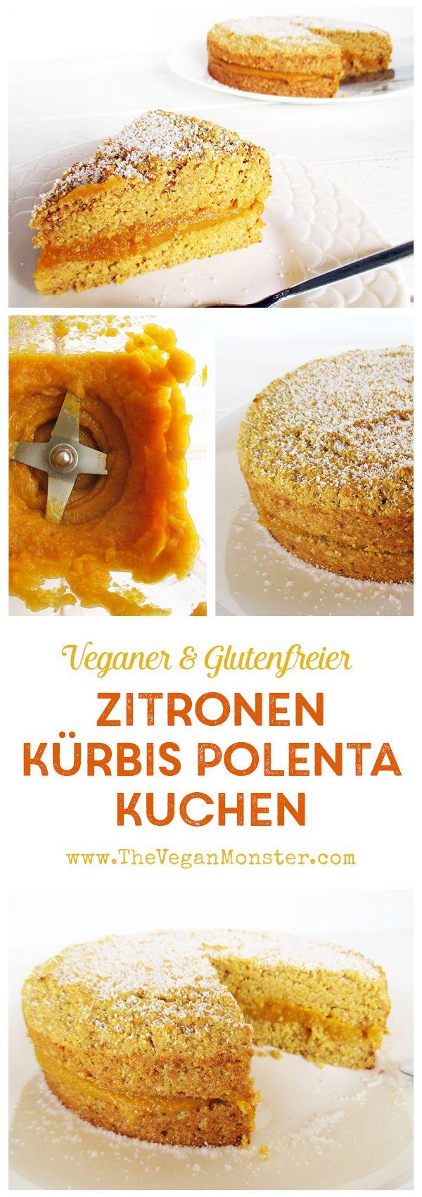 Veganer Glutenfreier Milchfreier Zitronen Kürbis Polenta Kuchen ohne Ei und ohne Öl (Halloween Bake)