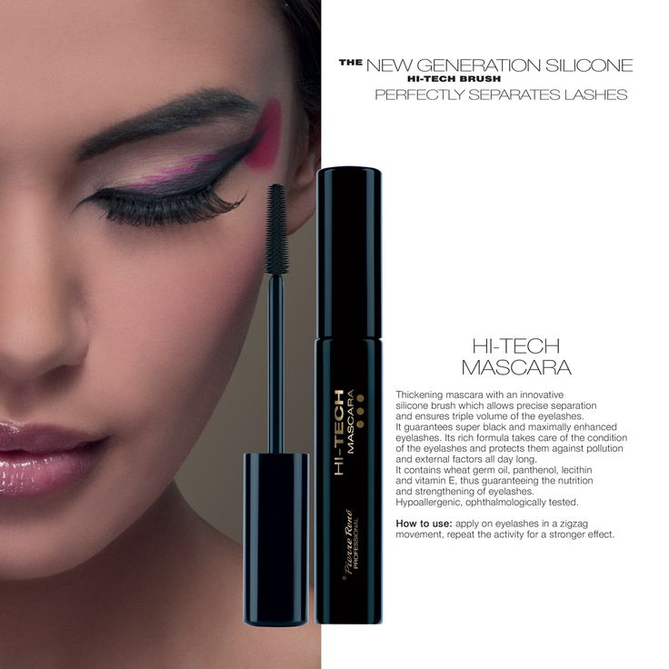 HI-TECH Mascara  Thickening mascara with an innovative silicone brush which allows precise separation and ensures triple volume of the eyelashes. It guarantees super black and maximally enhanced eyelashes. Its rich formula takes care of the condition of the eyelashes and protects them against pollution and external factors all day long. It contains wheat germ oil, panthenol, lecithin and vitamin E, thus guaranteeing the nutrition and strengthening of eyelashes. Hypoallergenic…
