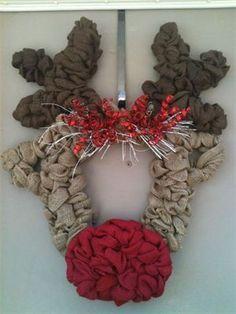 Rudolph Burlap Wreath : $110 - sold Made by Red-y Made Wreaths. Like & Follow us on Facebook https://www.facebook.com/pages/Red-y-Made-Wreaths/193750437415618 or Visit us at www.redymadewreaths.com