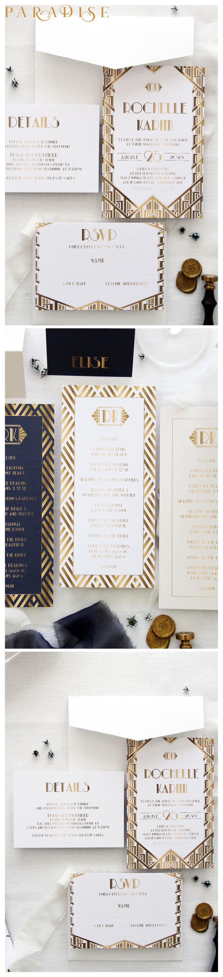 Art Deco 2 Wedding Invitations, Navy and Gold Wedding Invitation Sets, Elegant Invitations, Chic Art Deco Wedding Invitation Kit, Wax Stamp #weddinginvitation #weddings #bride #weddingstationery #weddinginvitations #weddingtrends #weddinginspo #weddingstyle