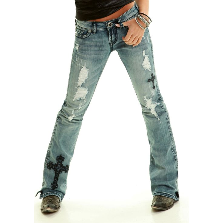 Cowgirl Tuff Women's Black Distressed Victory Jeans