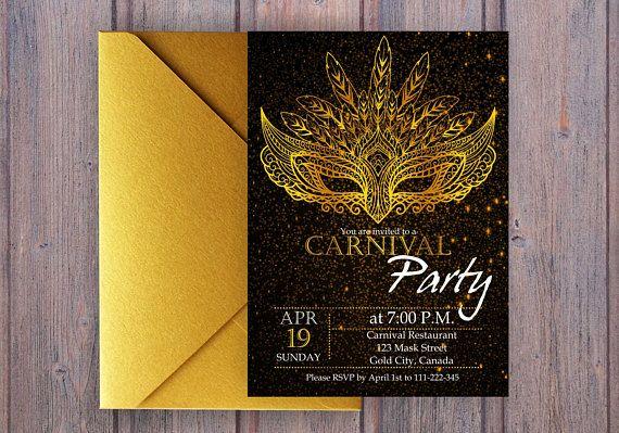 Luxury Carnival Party Invitation. Mardi Gras Invitation.