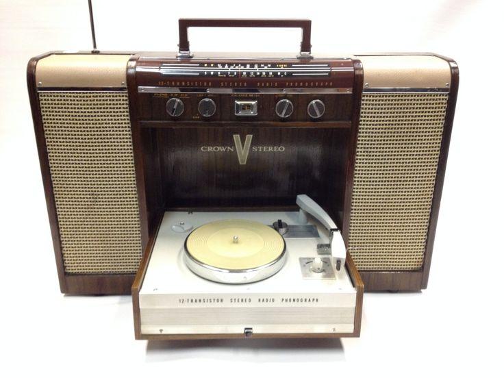Crown Portable Stereo Radio Phonograph | Audio Gold Hi-Fi London