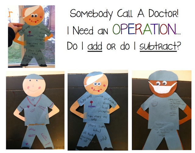 Somebody Call A Doctor...I Need an Operation! What a great way to do math!