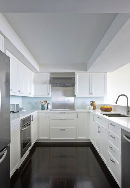 Anne Hepfer Designs: Contemporary U shaped kitchen design with white shaker kitchen cabinets paired with ...