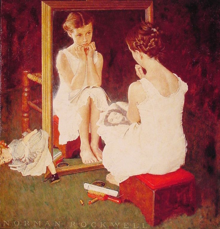 Girl at Mirror by Norman Rockwell, Oil on canvas: