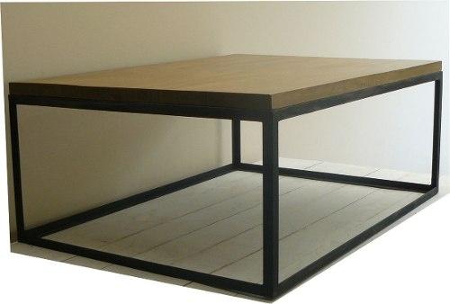 Mesa baja de madera maciza y hierro mesa ratona mesas for Mesa ratona