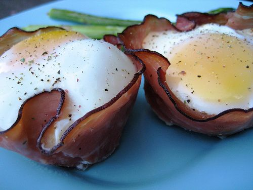 Baked Eggs And Mushrooms In Ham Crisps Recipe — Dishmaps