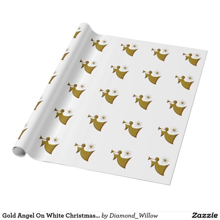 Gold Angel On White Christmas Wrap Wrapping Paper SOLD!  One roll is heading to Hurricane, WV.  Thanks every so much!
