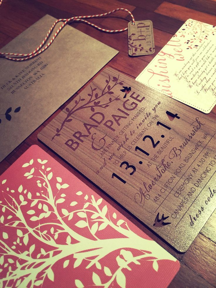 Tree themed wood wedding invitation set. Coral and ivory colour scheme. Go to www.lovemytype.com.au