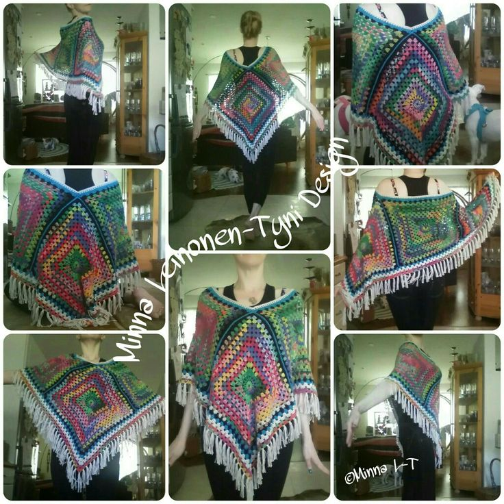 Crocheted colorful Poncho, My own Design. Love This!!!!