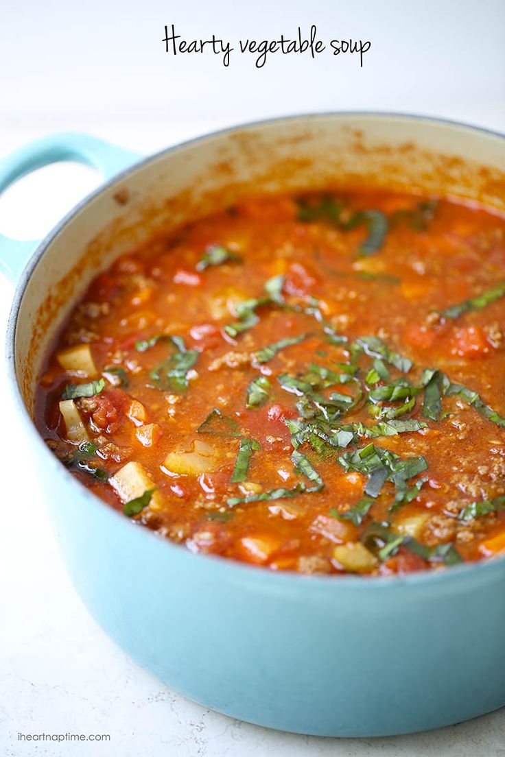 One-pot hearty vegetable soup. Easy to make, healthy and completely delicious! Also a whole 30 recipe!