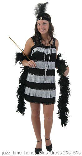 cb3b714fa9b Jazz Time Honey Plus Size Dress Fringe dressSequin headband with  feathersShow off the vixen inside of you with this fabulous plus size  flapper costume.