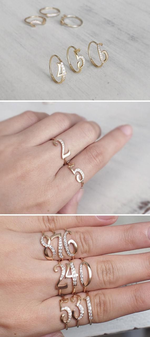 Commemorate a birth date, lucky number, or hometown area code with Etsy seller GracePersonalized's mix-and-matchable rings. #etsy