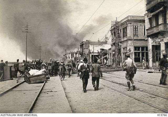 Salonica, Greece. August 1917. A section of the great city fire of 1917 being fought on the water front. (Donor Mrs McHardie White)