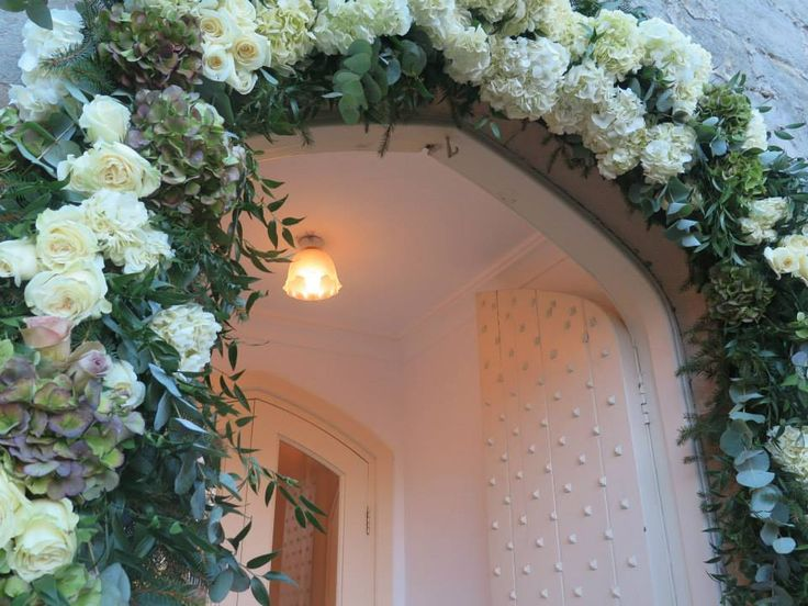 Floral Arch - Hydrangea and roses up close
