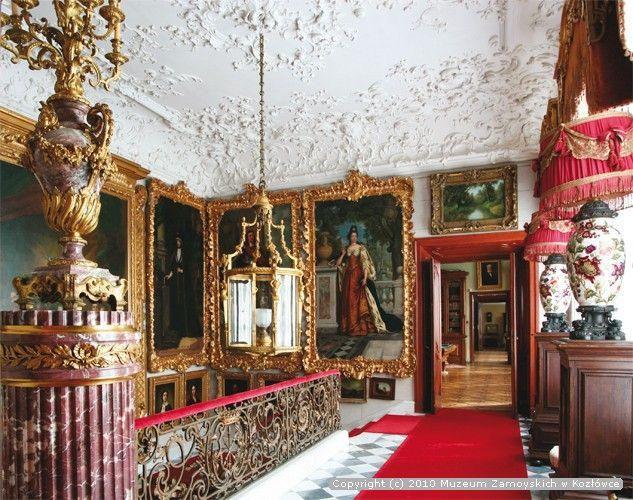 Staircase, Zamoyski palace, Kozłówka, Poland. An interior in the neo-régence style, constructed around 1900.