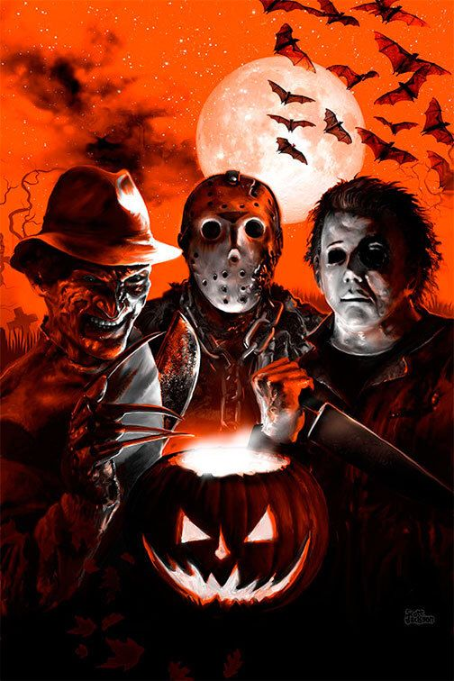 2 SIZES Scream Team print signed by Scott Jackson (limited edition) Halloween Freddy Krueger Jason Voorhees Michael Myers by MonstermanGraphic on Etsy https://www.etsy.com/listing/206392597/2-sizes-scream-team-print-signed-by