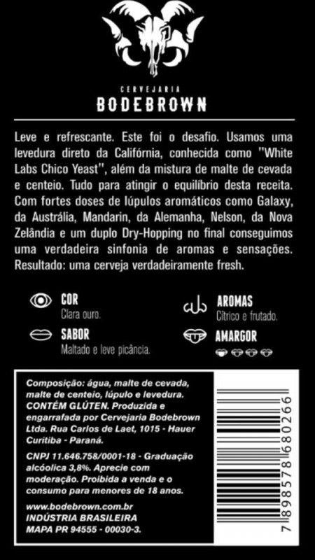 Cerveja Bodebrown Verum Session Rye Pale Ale, estilo American Pale Ale, produzida por Cervejaria Bodebrown, Brasil. 3.8% ABV de álcool.