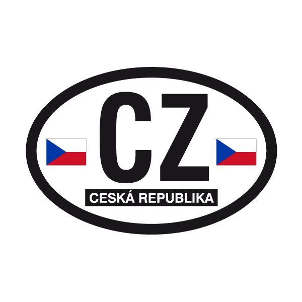 Pegatinas: Óvalo Ceská Republica (República Checa) CZ #bandera #pegatina #TeleAdhesivo