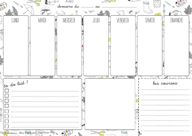 Semainier → planning hebdomadaire à imprimer                                                                                                                                                                                 Plus