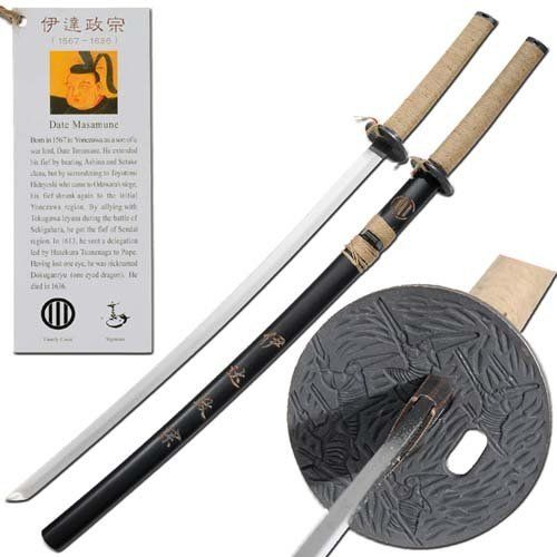 Date Masamune Japanese Warrior Historic Katana by Armory Replicas. $14.99. This katana is an authentic replica of a weapon welded by the legendary Japanese warrior Date Masamune and features a 27 inch oiled carbon steel blade.. Save 57% Off!