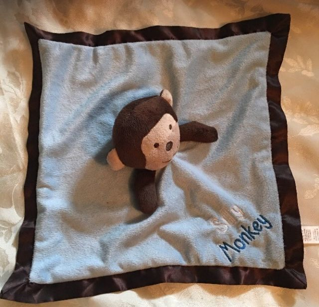 Baby Kiss Silly Monkey Baby Security Blanket Blue Brown