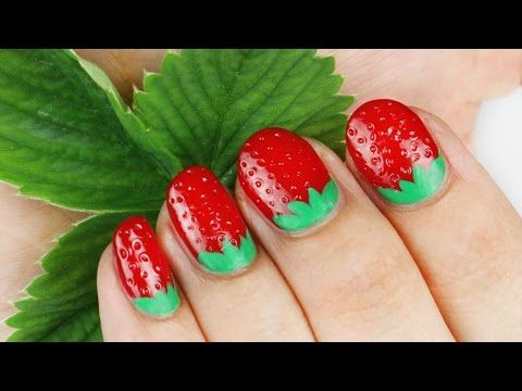 unghie deliziose a forma di fragola - nail art tutorial     #nails  #nailart