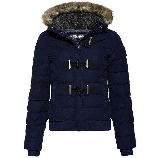 Superdry Microfibre Toggle Puffle Jacket (2,275 EGP) ❤ liked on Polyvore featuring outerwear, jackets, women coats & jackets, zipper jacket, superdry jacket, padded jacket, microfiber jacket and blue jackets
