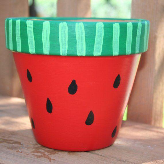 Watermelon 6Inch HandPainted Flower Pot FREE by hotgluemama, $22.00