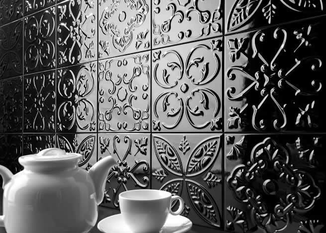 Pressed Metal Look kitchen splash back tiles Sydney. Kalafrana Ceramics Sydney tile showroom.