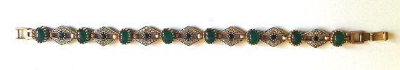 Bracelet Art Déco pierres vertes et strass/ par AuxBellesFrusques