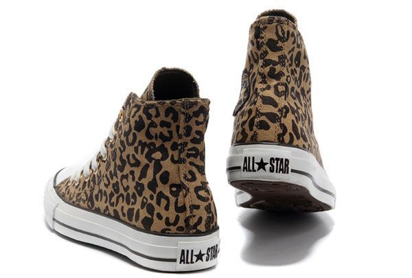 Leopard Converse Women Brown Chuck Taylor All Star High Tops Canvas Shoes #converse #shoes