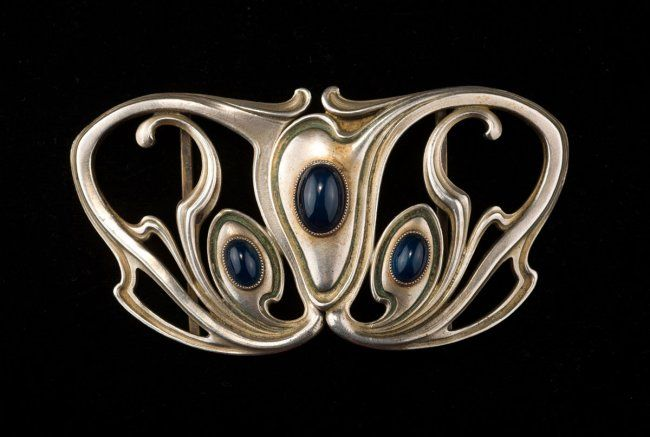 Art Nouveau Germany. Belt buckle, c1910. . Silver, :