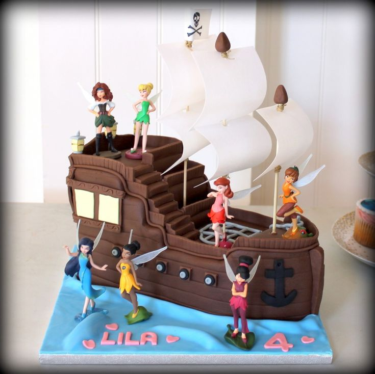 Tinkerbel Pirate Ship birthday cake www.sweet-nothings.co.uk