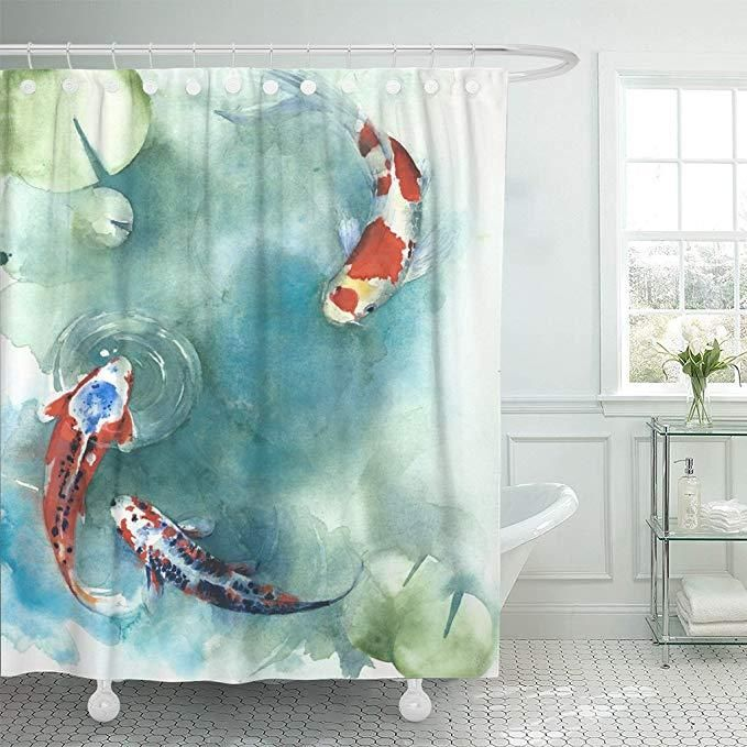 Japanese Lotus Leaf With Koi Fish Shower Curtain In 2020