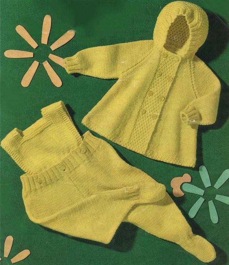 Babys Pram Set PDF Knitting Pattern : Babies 19 inch chest . Hooded Coat . Leggings . Instant Download by PDFKnittingCrochet on Etsy