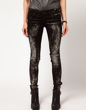 Metalic Paint Splattered Skinny Jeans