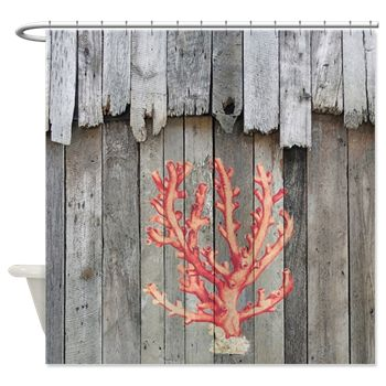 A Vintage Illustration Of Red Coral On Weathered Barn Wood From An Original  Photo By Rebecca Korpita Makes A Great Shower Curtain For A Beach House Or  ...
