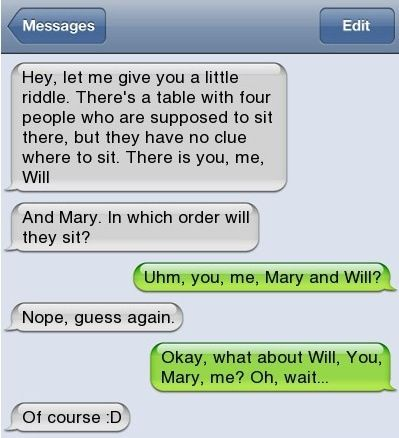 Hahah!!! Awesome but I would never want to be  proposed to by text (unless separated by distance)