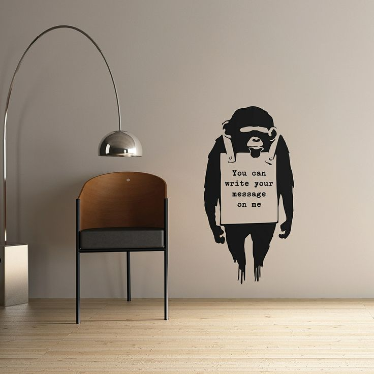 Children's area responsibility sign image Personalised Banksy Monkey wall sticker