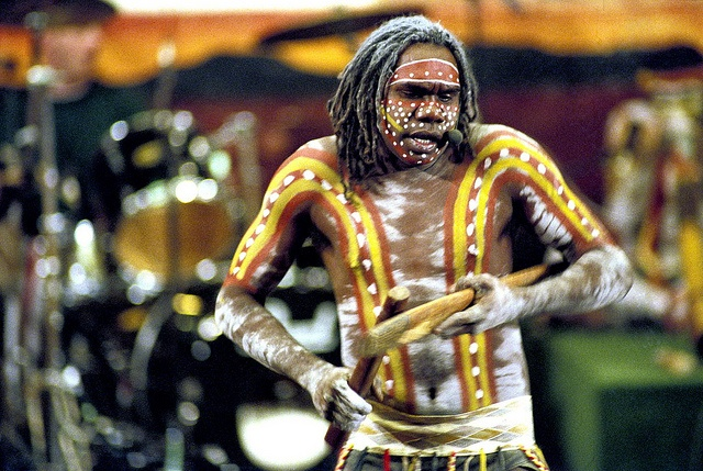 Australia | A member of Yothu Yindi, an aboriginal rock band from Australia, performing in the Economic and Social Council Chamber, during launching of the International Year of the World's Indigenous People. | © United Nations