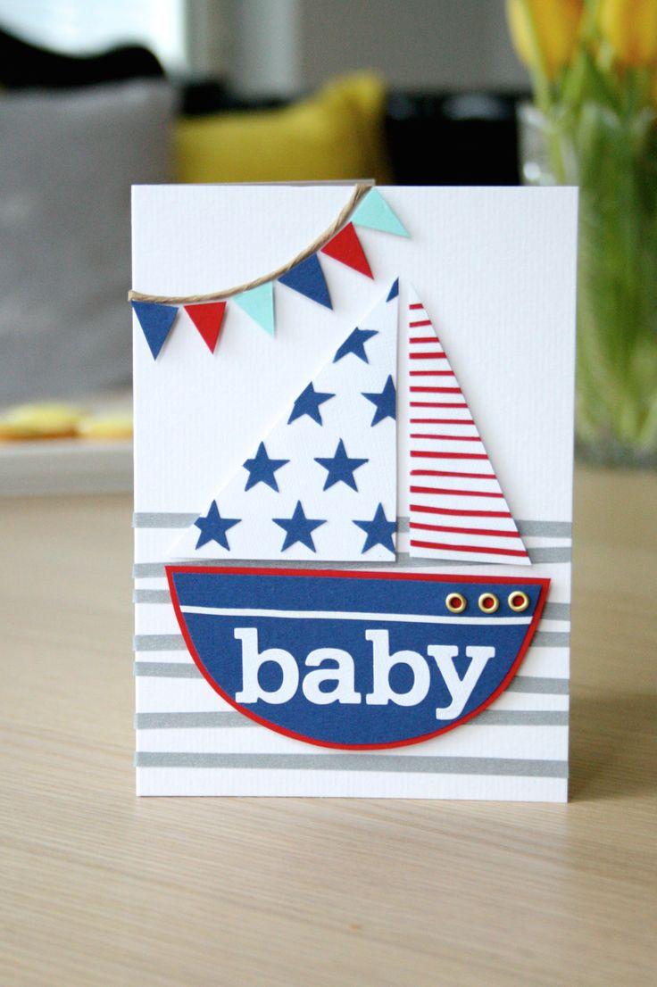 DIY: Onnittelukortti vauvalle (purjevene) / Greeting card for a new baby (sailboat)