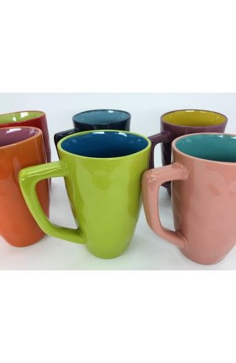 Tazze Multicolor. Sett di 6 tazze con manico, molto divertenti e colorate. #Giadaliving #tazze #tavola