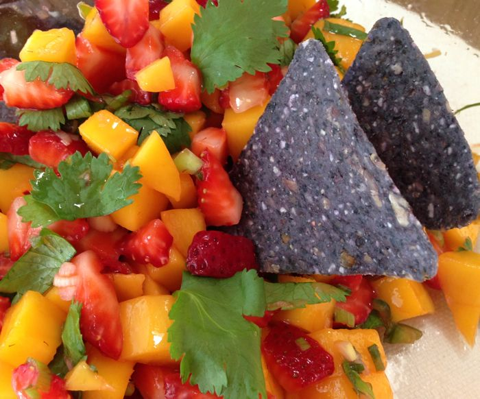 Sweet and Spicy Strawberry & Mango Salsa | Healthy Snacks | Pinterest