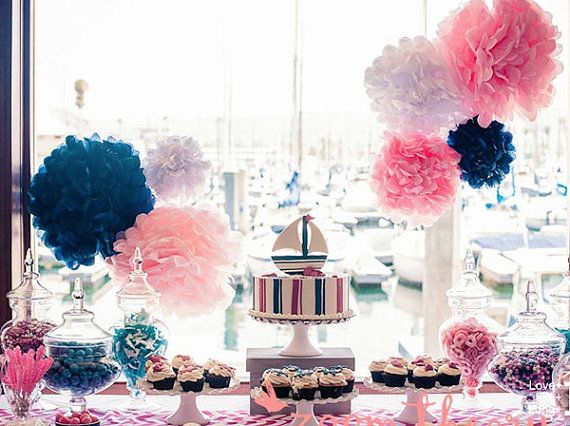 """2x 25"""" Tissue Paper Pom Poms Flower ball pomander wedding decor-birthday party decor on Etsy, $12.27"""