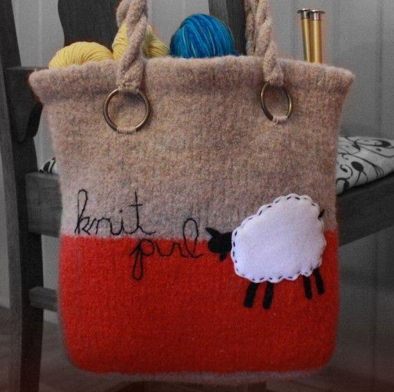 Knit Purl Knitting Project Bag (pdf knitting pattern)
